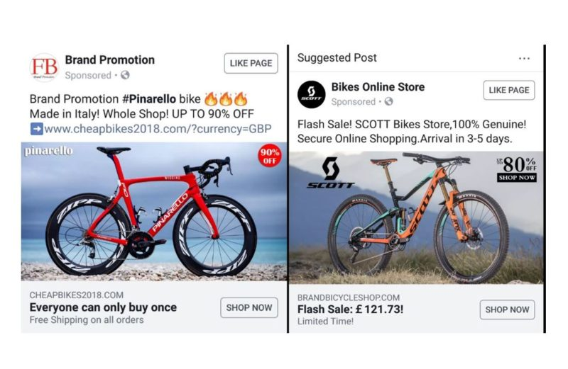 Fraudulent brand stores sweep Facebook with sponsored adverts, bike